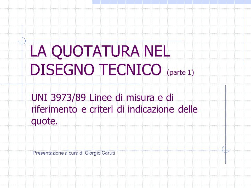 LA QUOTATURA NEL DISEGNO TECNICO (parte 1) Presentazione a cura di Giorgio Garuti UNI 3973/89 Linee di misura e di riferimento e criteri di indicazion