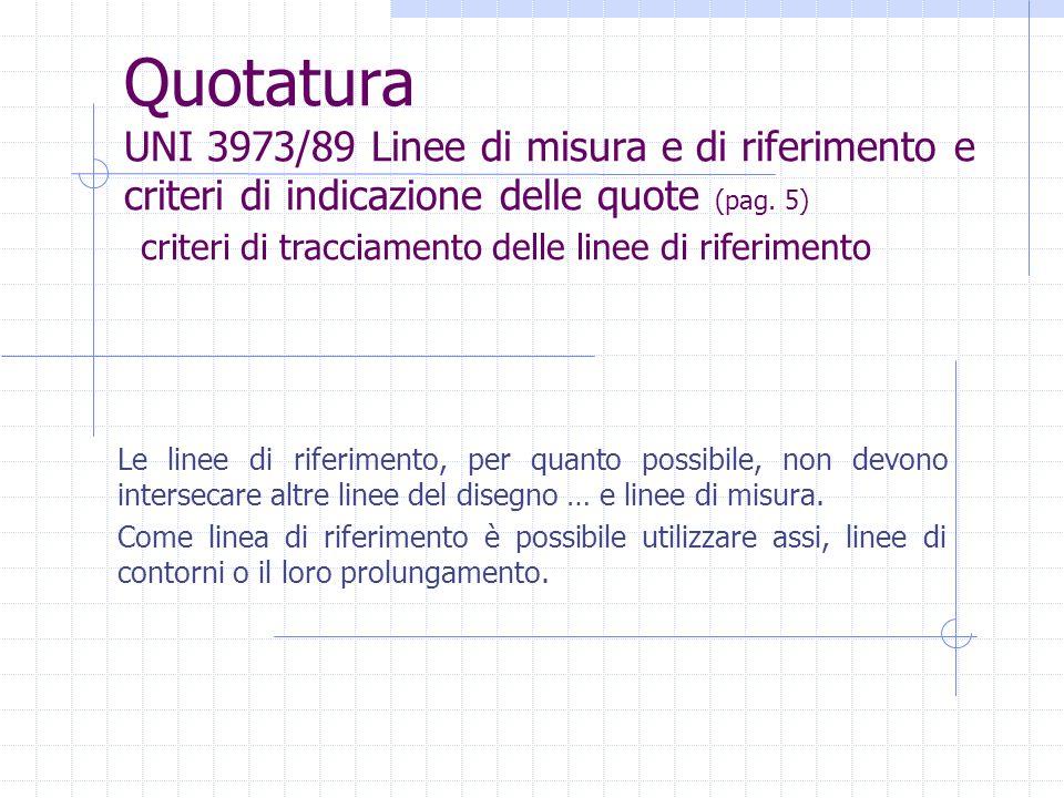 Quotatura UNI 3973/89 Linee di misura e di riferimento e criteri di indicazione delle quote (pag. 5) Le linee di riferimento, per quanto possibile, no
