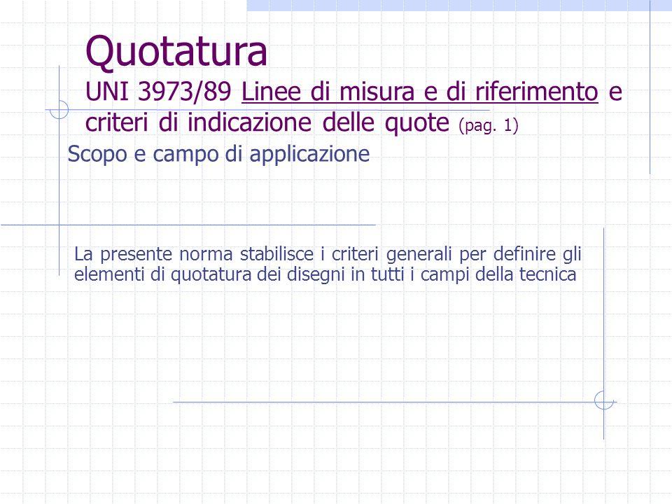 La presente norma stabilisce i criteri generali per definire gli elementi di quotatura dei disegni in tutti i campi della tecnica Quotatura UNI 3973/8