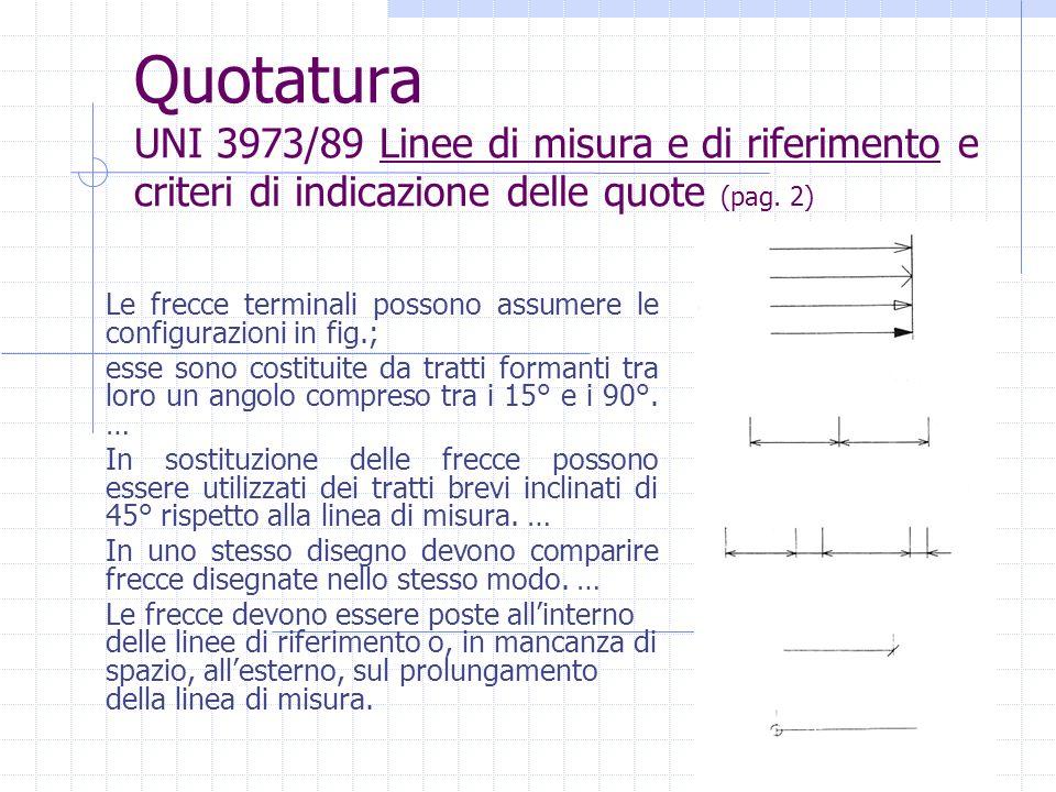 Quotatura UNI 3973/89 Linee di misura e di riferimento e criteri di indicazione delle quote (pag. 2) Le frecce terminali possono assumere le configura