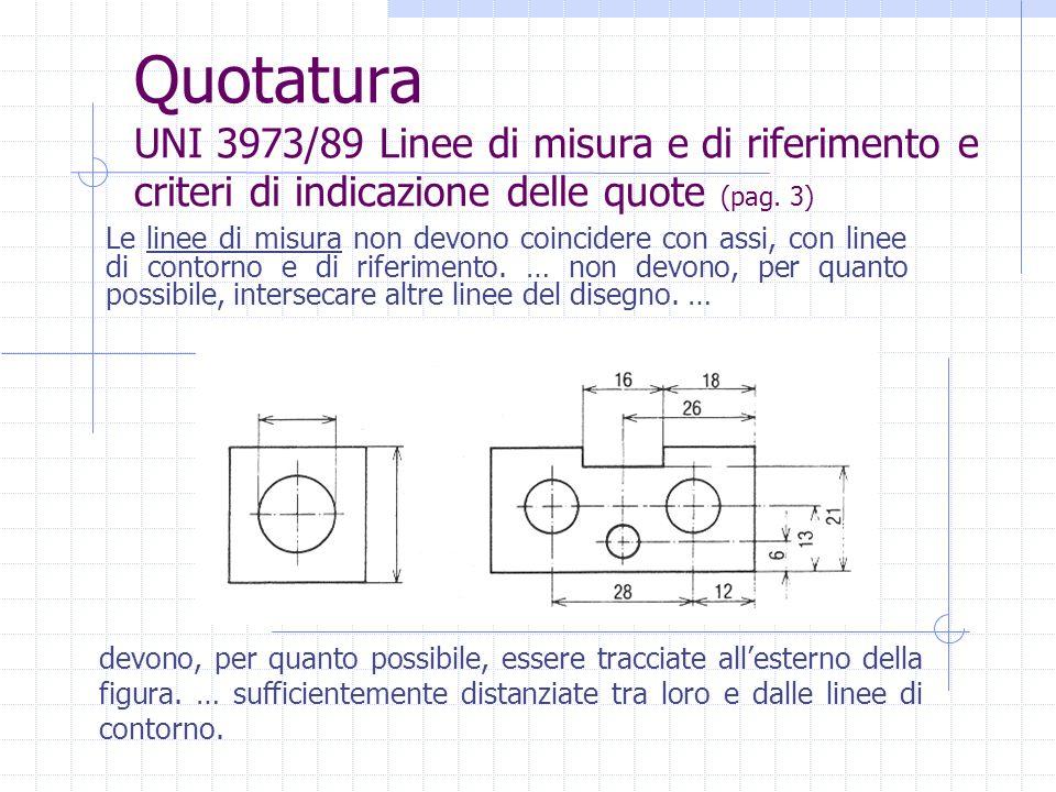 Quotatura UNI 3973/89 Linee di misura e di riferimento e criteri di indicazione delle quote (pag. 3) Le linee di misura non devono coincidere con assi