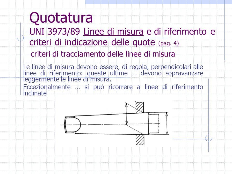 Quotatura UNI 3973/89 Linee di misura e di riferimento e criteri di indicazione delle quote (pag. 4) Le linee di misura devono essere, di regola, perp