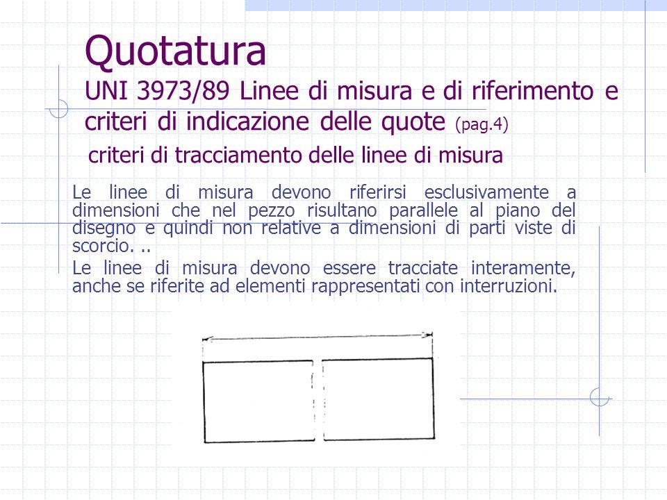 Quotatura UNI 3973/89 Linee di misura e di riferimento e criteri di indicazione delle quote (pag.4) Le linee di misura devono riferirsi esclusivamente