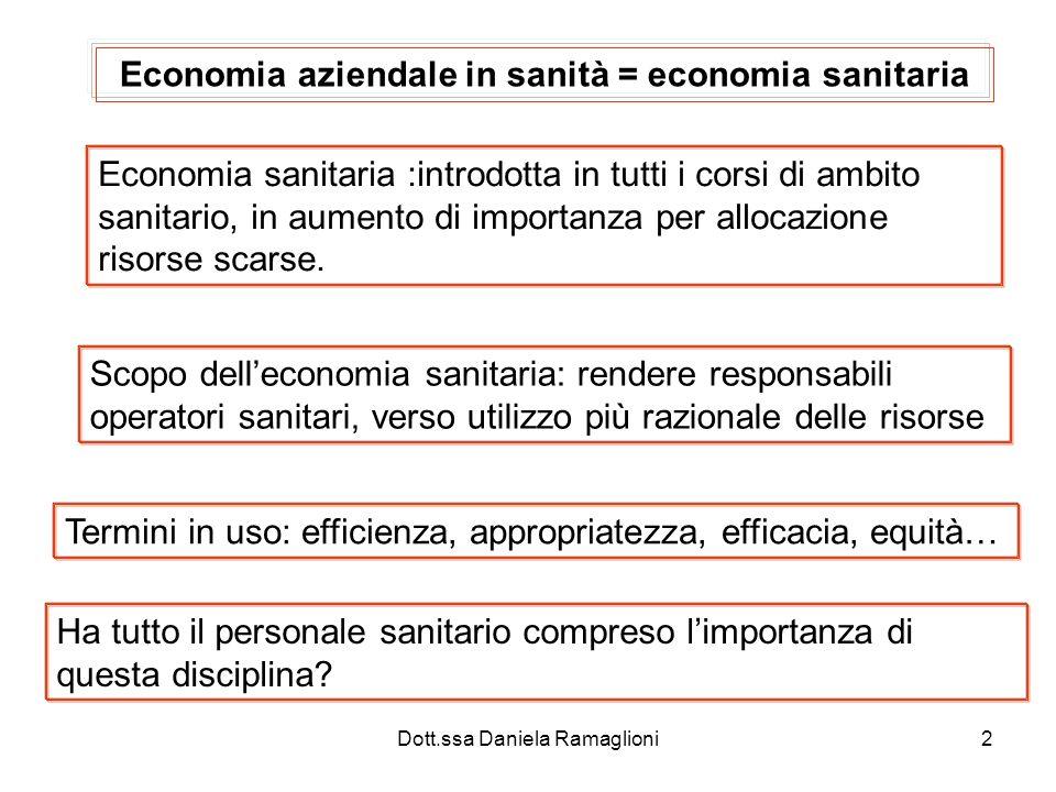 2 Economia aziendale in sanità = economia sanitaria Economia sanitaria :introdotta in tutti i corsi di ambito sanitario, in aumento di importanza per allocazione risorse scarse.