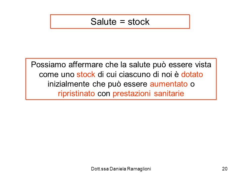 Dott.ssa Daniela Ramaglioni20 Salute = stock Possiamo affermare che la salute può essere vista come uno stock di cui ciascuno di noi è dotato inizialmente che può essere aumentato o ripristinato con prestazioni sanitarie