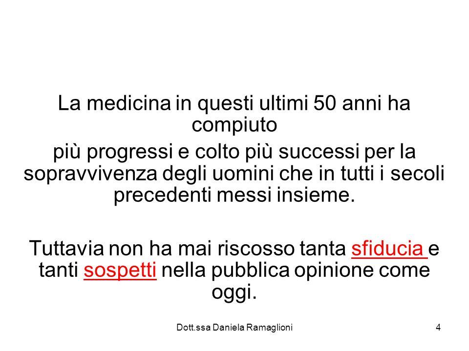 Dott.ssa Daniela Ramaglioni4 La medicina in questi ultimi 50 anni ha compiuto più progressi e colto più successi per la sopravvivenza degli uomini che in tutti i secoli precedenti messi insieme.