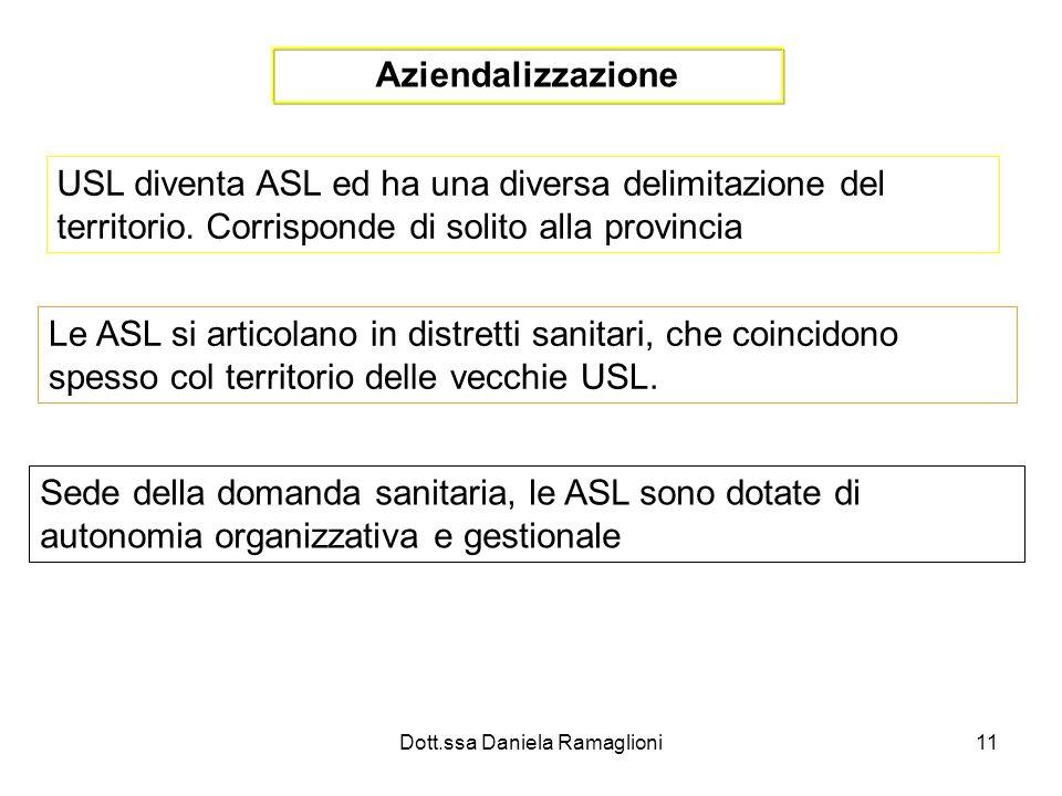 Dott.ssa Daniela Ramaglioni11 Aziendalizzazione USL diventa ASL ed ha una diversa delimitazione del territorio. Corrisponde di solito alla provincia L