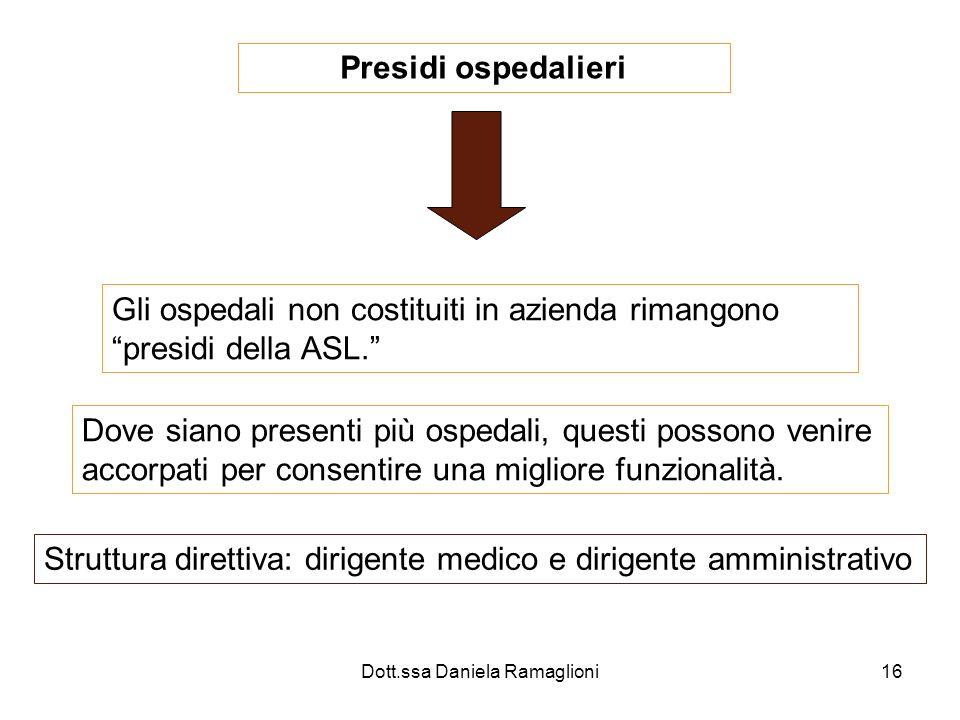 Dott.ssa Daniela Ramaglioni16 Presidi ospedalieri Gli ospedali non costituiti in azienda rimangono presidi della ASL. Dove siano presenti più ospedali