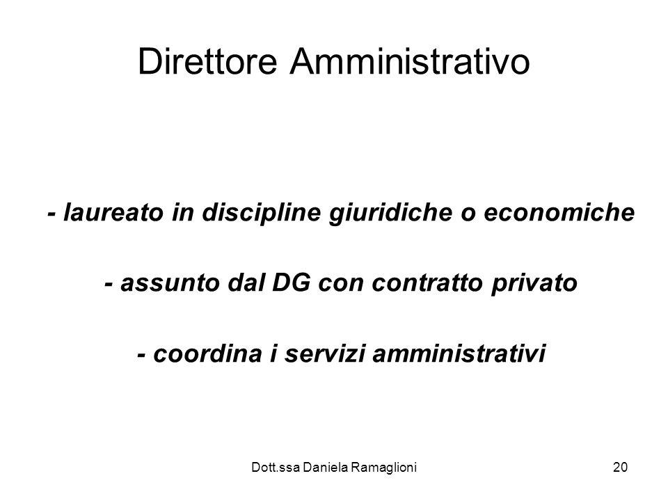 Dott.ssa Daniela Ramaglioni20 Direttore Amministrativo - laureato in discipline giuridiche o economiche - assunto dal DG con contratto privato - coord