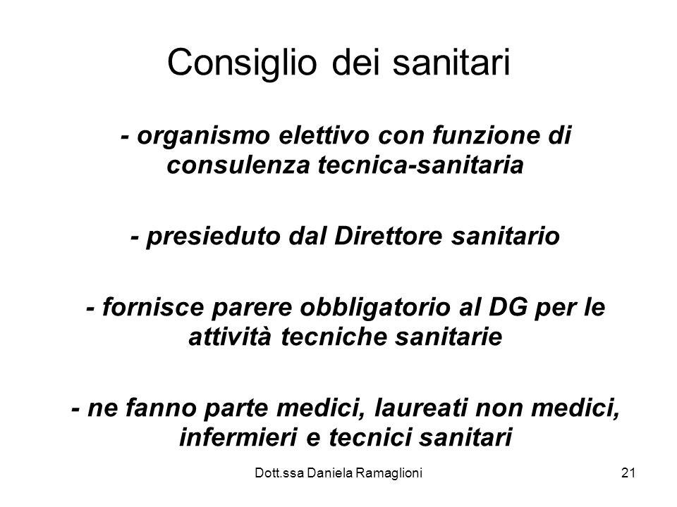 Dott.ssa Daniela Ramaglioni21 Consiglio dei sanitari - organismo elettivo con funzione di consulenza tecnica-sanitaria - presieduto dal Direttore sani