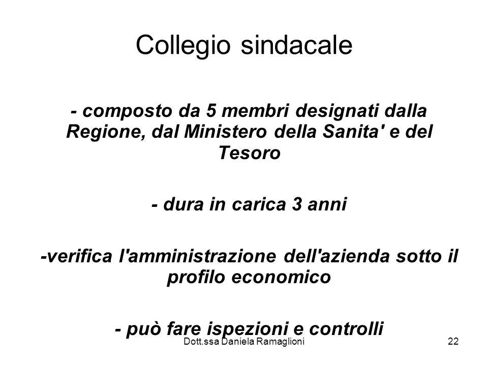 Dott.ssa Daniela Ramaglioni22 Collegio sindacale - composto da 5 membri designati dalla Regione, dal Ministero della Sanita' e del Tesoro - dura in ca