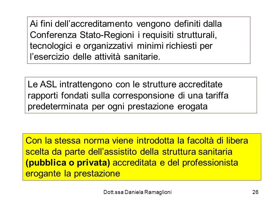 Dott.ssa Daniela Ramaglioni26 Ai fini dellaccreditamento vengono definiti dalla Conferenza Stato-Regioni i requisiti strutturali, tecnologici e organi