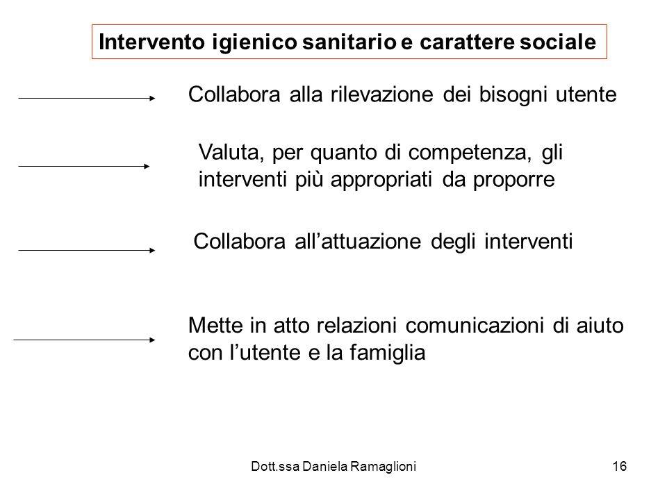 Dott.ssa Daniela Ramaglioni16 Intervento igienico sanitario e carattere sociale Collabora alla rilevazione dei bisogni utente Valuta, per quanto di co
