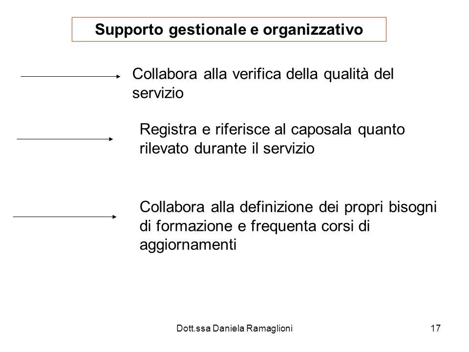 Dott.ssa Daniela Ramaglioni17 Supporto gestionale e organizzativo Collabora alla verifica della qualità del servizio Registra e riferisce al caposala