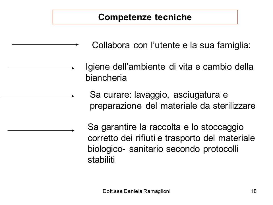 Dott.ssa Daniela Ramaglioni18 Competenze tecniche Collabora con lutente e la sua famiglia: Igiene dellambiente di vita e cambio della biancheria Sa cu