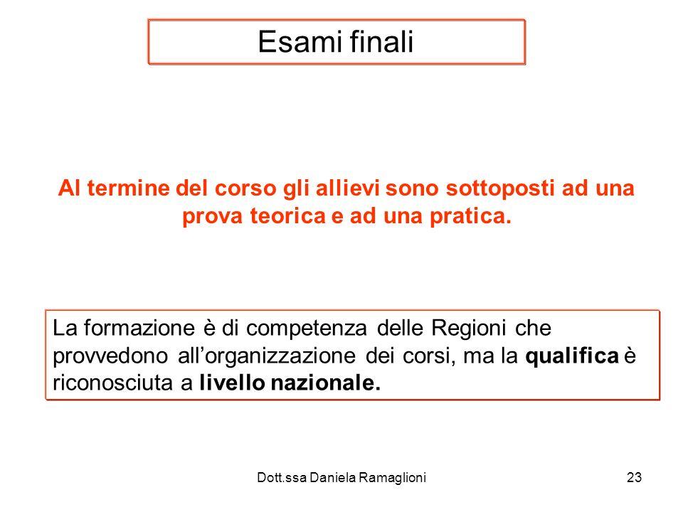 Dott.ssa Daniela Ramaglioni23 Esami finali Al termine del corso gli allievi sono sottoposti ad una prova teorica e ad una pratica. La formazione è di
