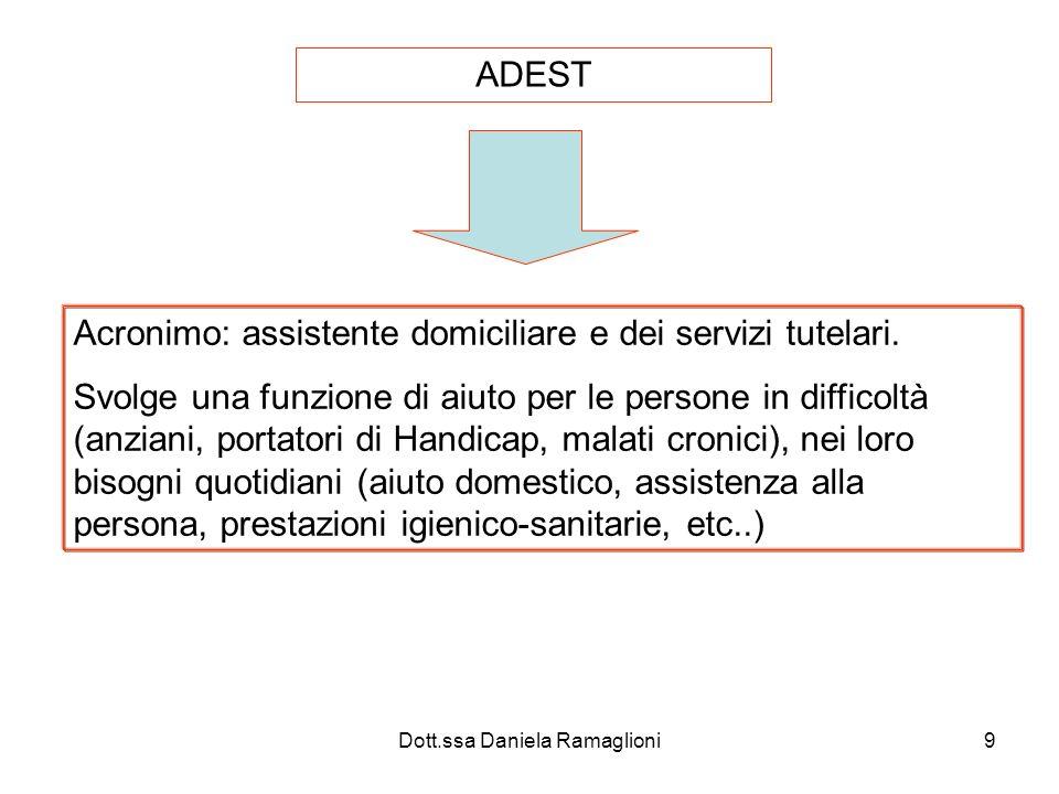 Dott.ssa Daniela Ramaglioni9 ADEST Acronimo: assistente domiciliare e dei servizi tutelari. Svolge una funzione di aiuto per le persone in difficoltà