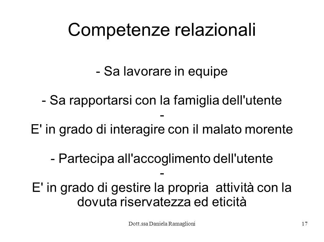 Dott.ssa Daniela Ramaglioni17 Competenze relazionali - Sa lavorare in equipe - Sa rapportarsi con la famiglia dell'utente - E' in grado di interagire