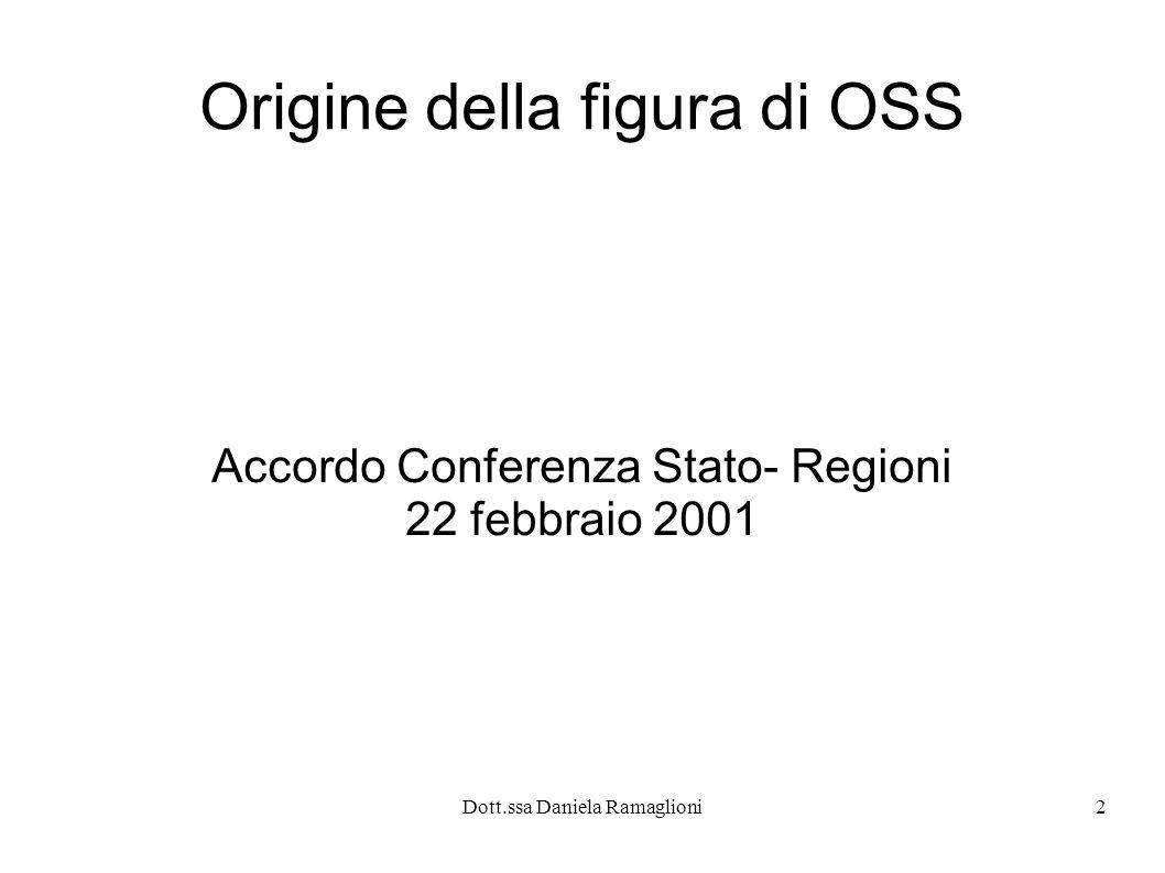 2 Origine della figura di OSS Accordo Conferenza Stato- Regioni 22 febbraio 2001