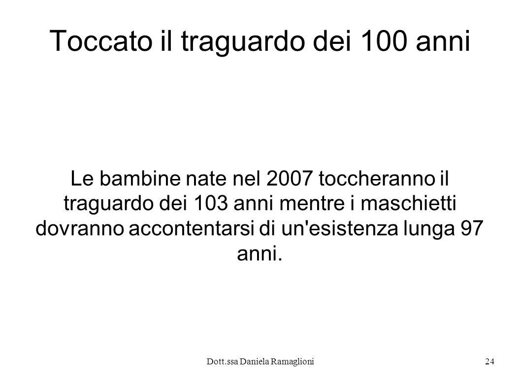 Dott.ssa Daniela Ramaglioni24 Toccato il traguardo dei 100 anni Le bambine nate nel 2007 toccheranno il traguardo dei 103 anni mentre i maschietti dov