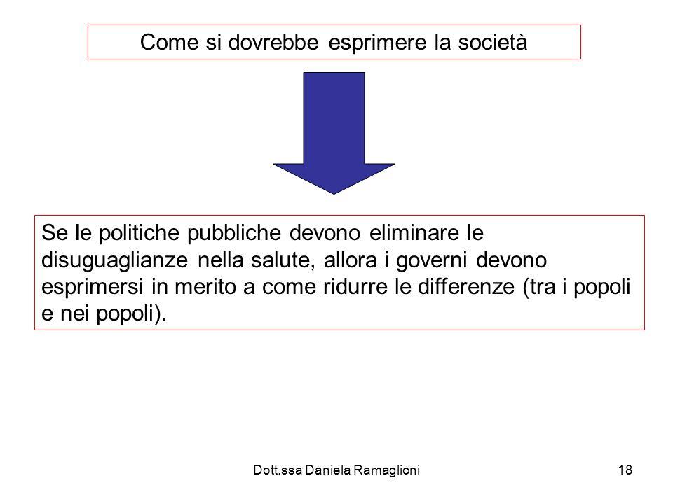 Dott.ssa Daniela Ramaglioni18 Come si dovrebbe esprimere la società Se le politiche pubbliche devono eliminare le disuguaglianze nella salute, allora