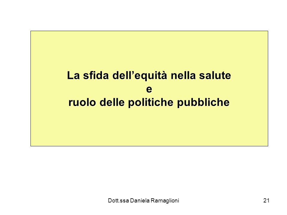 Dott.ssa Daniela Ramaglioni21 La sfida dellequità nella salute e ruolo delle politiche pubbliche