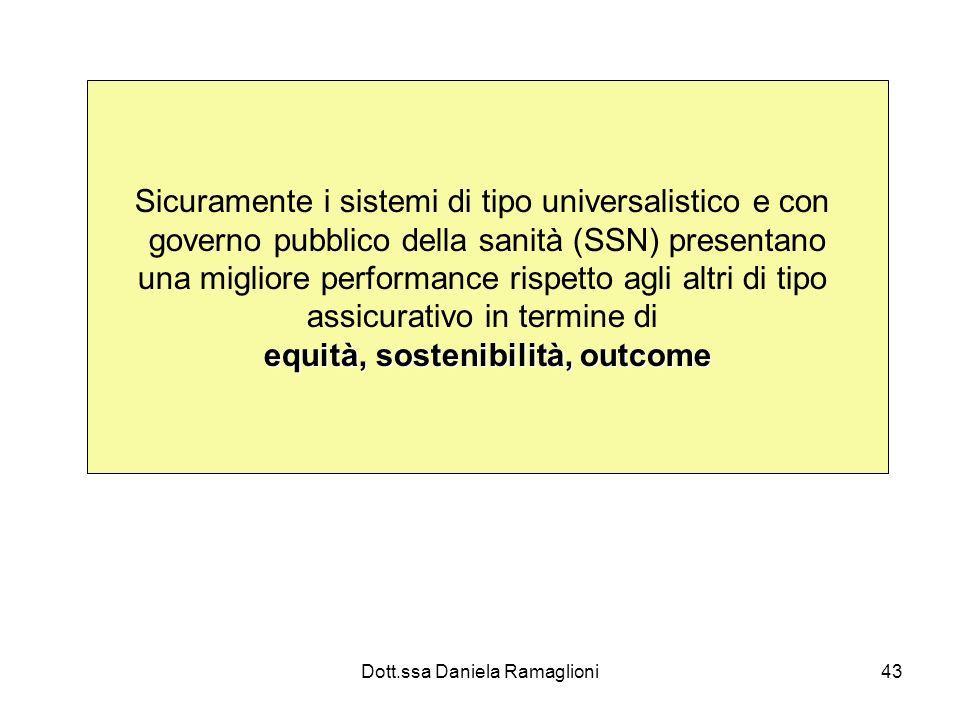 Dott.ssa Daniela Ramaglioni43 Sicuramente i sistemi di tipo universalistico e con governo pubblico della sanità (SSN) presentano una migliore performa