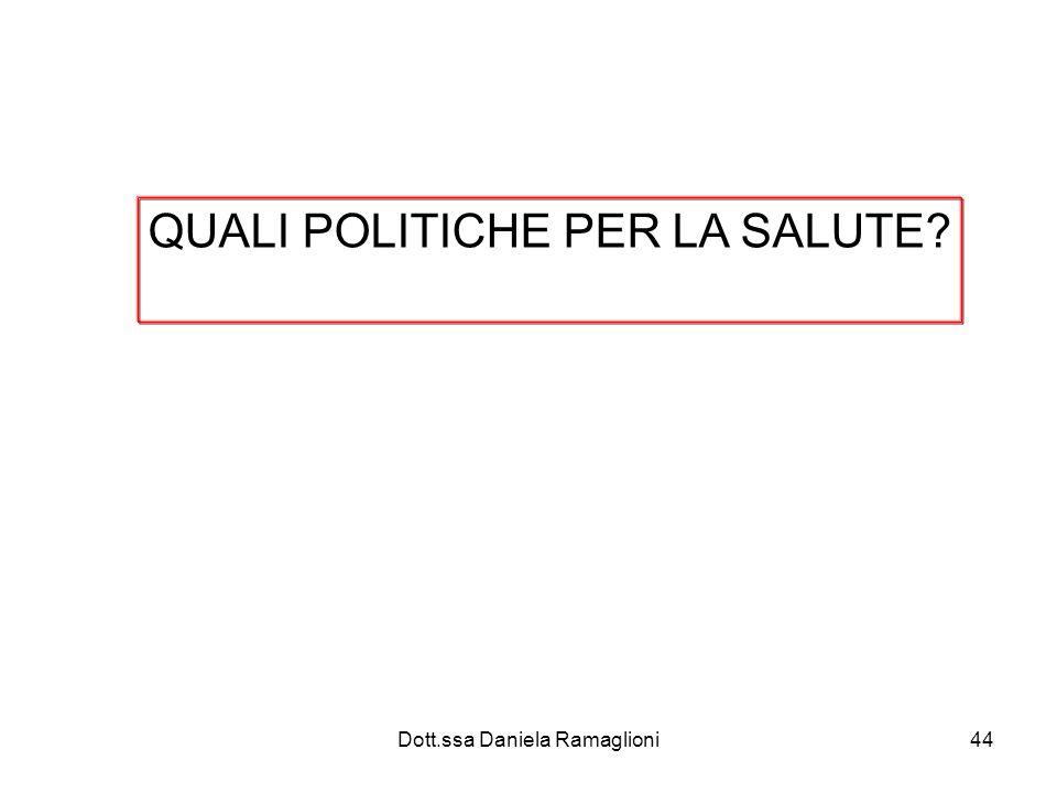 Dott.ssa Daniela Ramaglioni44 QUALI POLITICHE PER LA SALUTE?