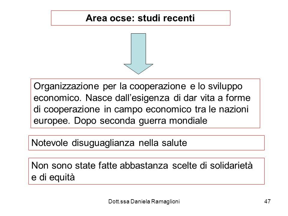 Dott.ssa Daniela Ramaglioni47 Area ocse: studi recenti Organizzazione per la cooperazione e lo sviluppo economico. Nasce dallesigenza di dar vita a fo