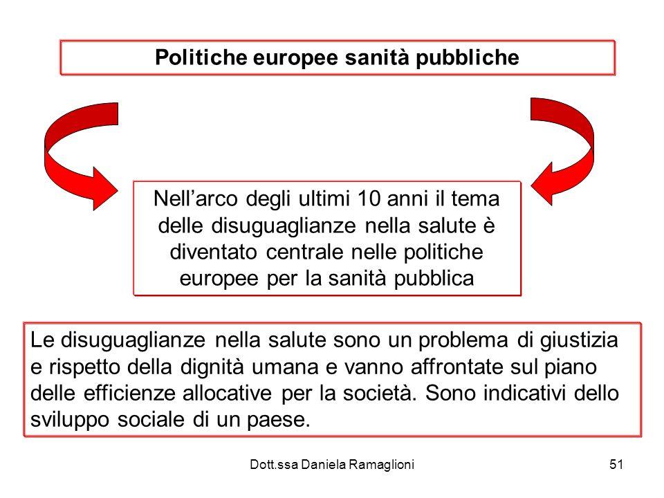 Dott.ssa Daniela Ramaglioni51 Politiche europee sanità pubbliche Nellarco degli ultimi 10 anni il tema delle disuguaglianze nella salute è diventato c