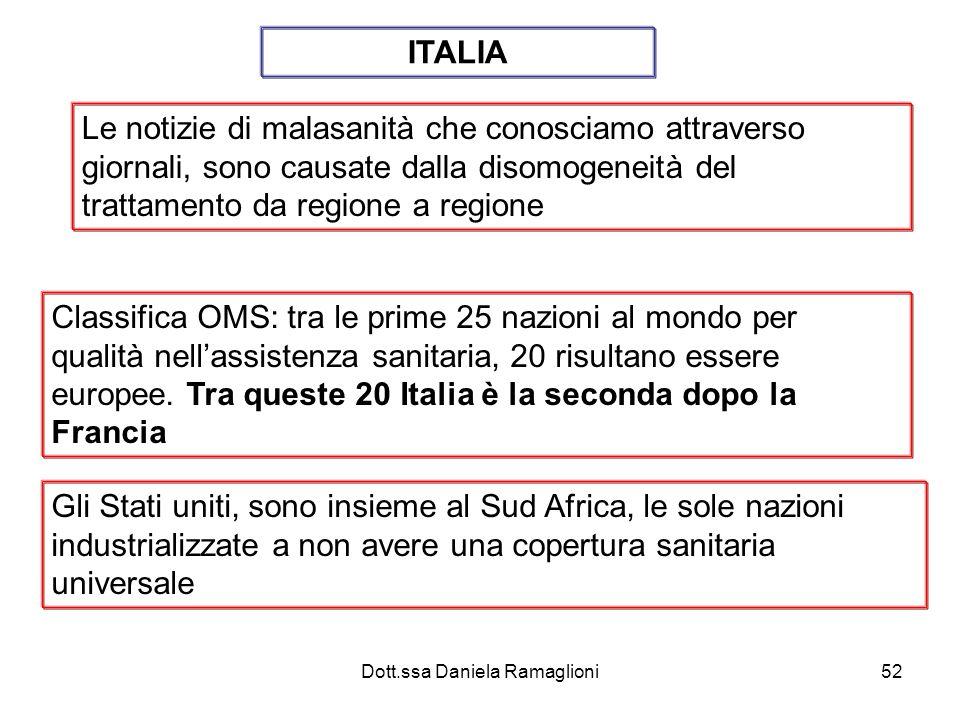 Dott.ssa Daniela Ramaglioni52 Le notizie di malasanità che conosciamo attraverso giornali, sono causate dalla disomogeneità del trattamento da regione
