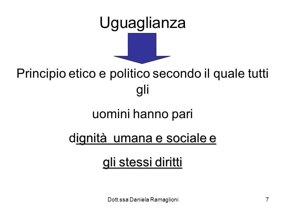 Dott.ssa Daniela Ramaglioni7 Uguaglianza Principio etico e politico secondo il quale tutti gli uomini hanno pari ignità umana e sociale e dignità uman