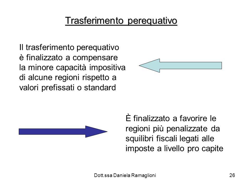 Dott.ssa Daniela Ramaglioni26 Trasferimento perequativo Il trasferimento perequativo è finalizzato a compensare la minore capacità impositiva di alcun