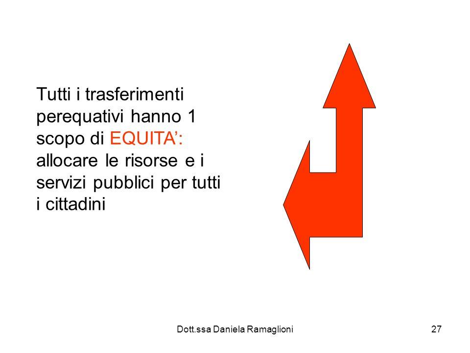 Dott.ssa Daniela Ramaglioni27 Tutti i trasferimenti perequativi hanno 1 scopo di EQUITA: allocare le risorse e i servizi pubblici per tutti i cittadin