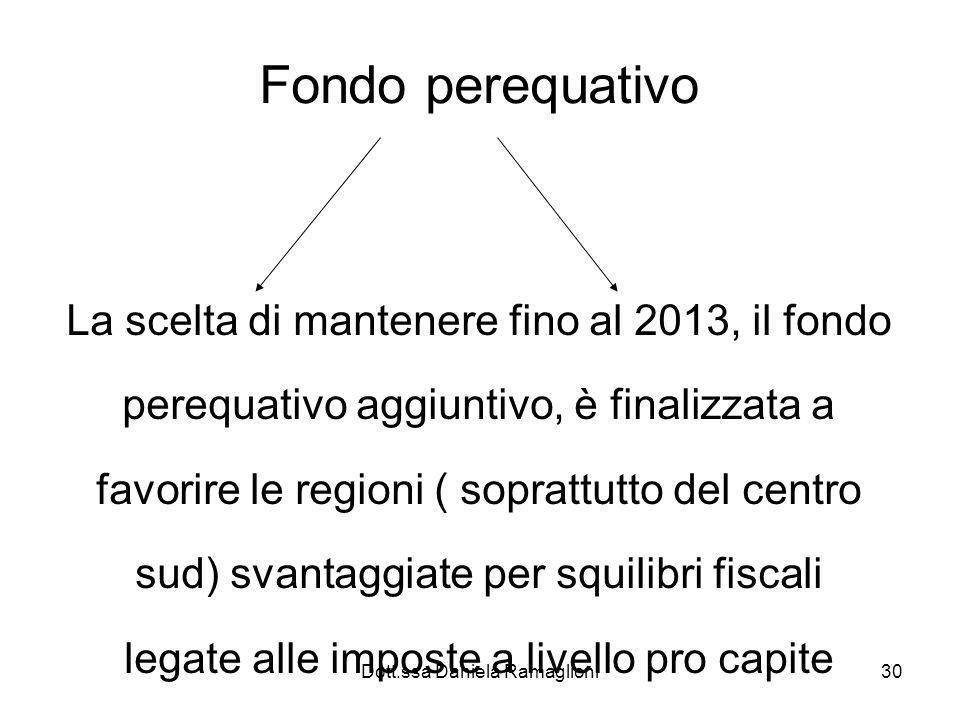 Dott.ssa Daniela Ramaglioni30 Fondo perequativo La scelta di mantenere fino al 2013, il fondo perequativo aggiuntivo, è finalizzata a favorire le regi