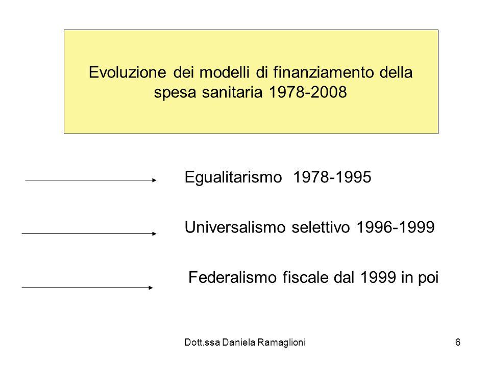 Dott.ssa Daniela Ramaglioni6 Evoluzione dei modelli di finanziamento della spesa sanitaria 1978-2008 Egualitarismo 1978-1995 Universalismo selettivo 1