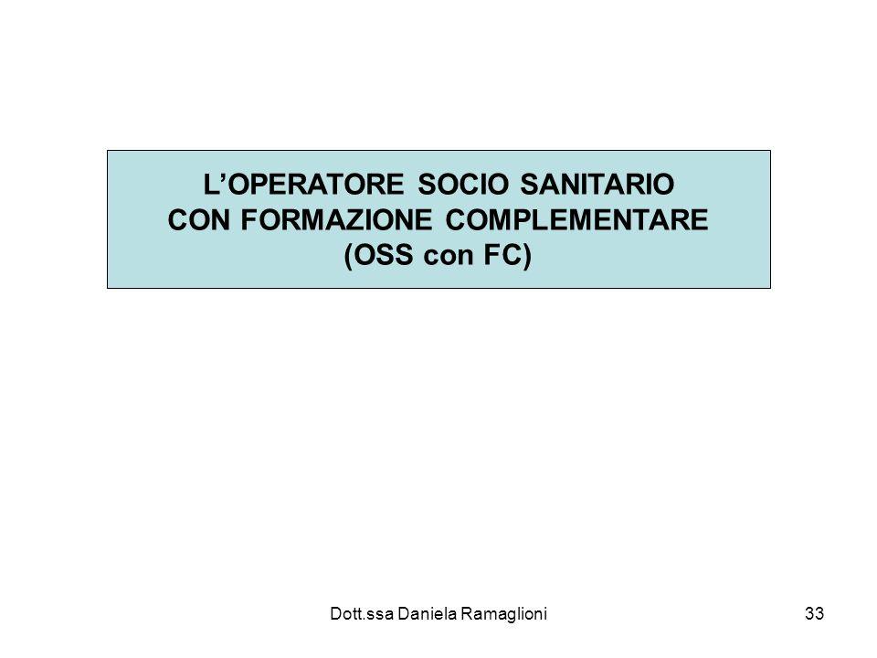 Dott.ssa Daniela Ramaglioni33 LOPERATORE SOCIO SANITARIO CON FORMAZIONE COMPLEMENTARE (OSS con FC)
