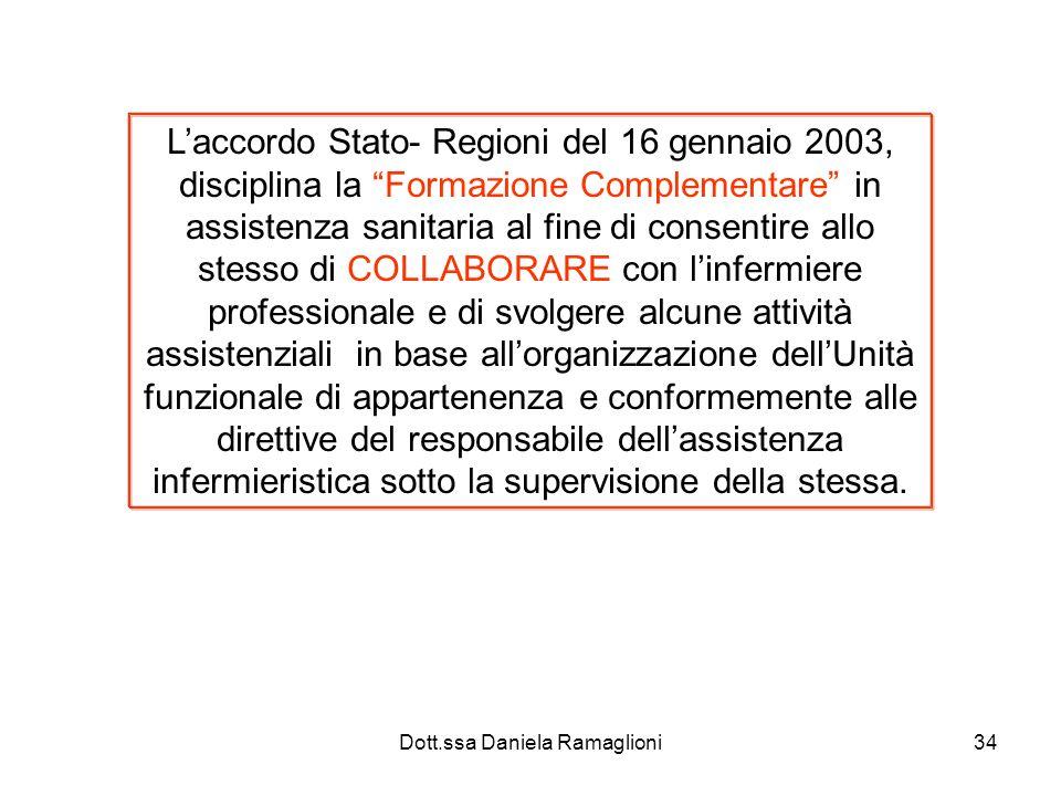 Dott.ssa Daniela Ramaglioni34 Laccordo Stato- Regioni del 16 gennaio 2003, disciplina la Formazione Complementare in assistenza sanitaria al fine di c