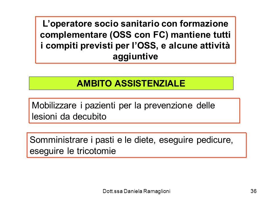Dott.ssa Daniela Ramaglioni36 Loperatore socio sanitario con formazione complementare (OSS con FC) mantiene tutti i compiti previsti per lOSS, e alcun