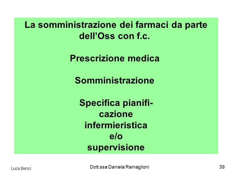 Dott.ssa Daniela Ramaglioni39 La somministrazione dei farmaci da parte dellOss con f.c. Prescrizione medica Somministrazione Specifica pianifi- cazion