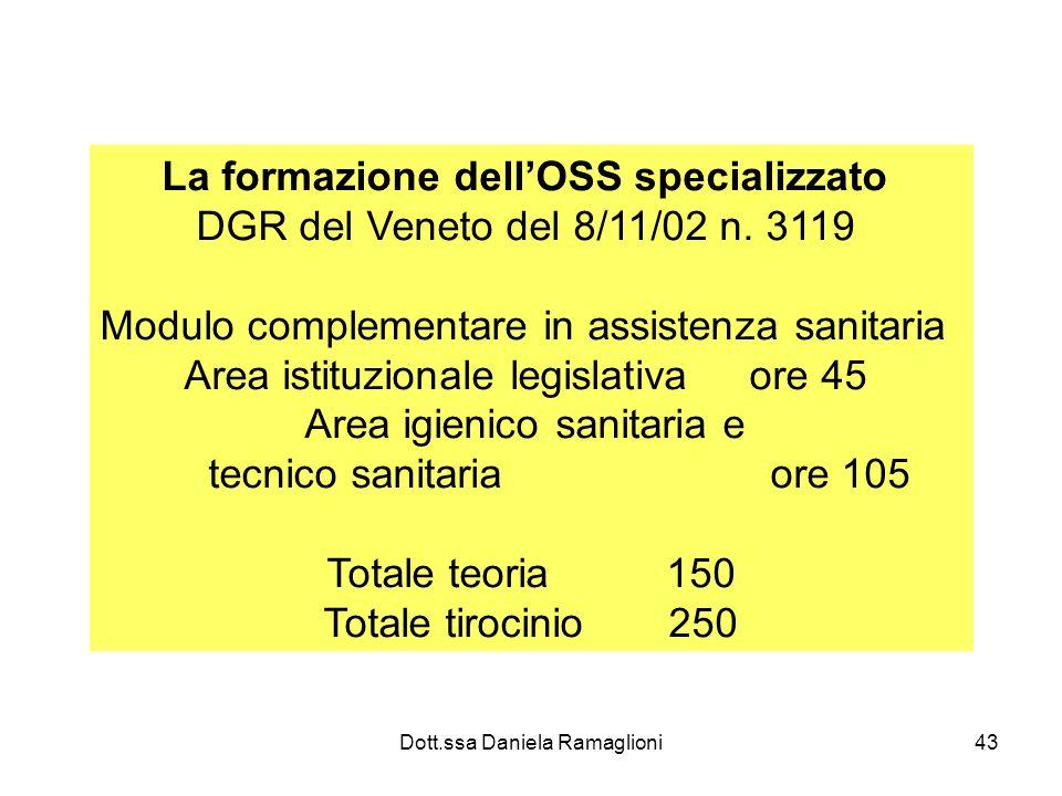 Dott.ssa Daniela Ramaglioni43 La formazione dellOSS specializzato DGR del Veneto del 8/11/02 n. 3119 Modulo complementare in assistenza sanitaria Area