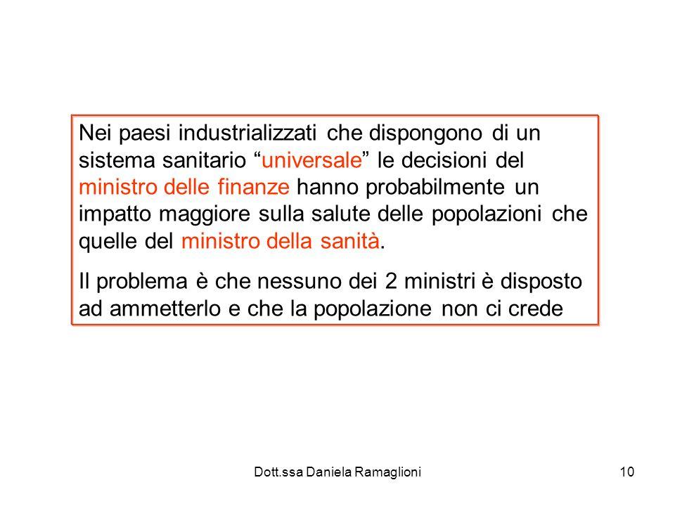 Dott.ssa Daniela Ramaglioni10 Nei paesi industrializzati che dispongono di un sistema sanitario universale le decisioni del ministro delle finanze han