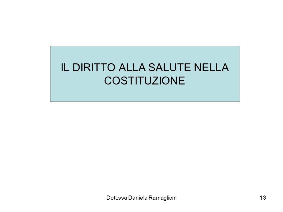 Dott.ssa Daniela Ramaglioni13 IL DIRITTO ALLA SALUTE NELLA COSTITUZIONE