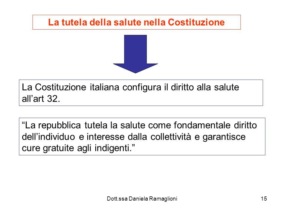 Dott.ssa Daniela Ramaglioni15 La tutela della salute nella Costituzione La Costituzione italiana configura il diritto alla salute allart 32. La repubb