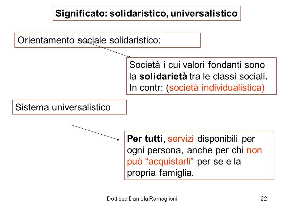 Dott.ssa Daniela Ramaglioni22 Orientamento sociale solidaristico: Società i cui valori fondanti sono la solidarietà tra le classi sociali. In contr: (