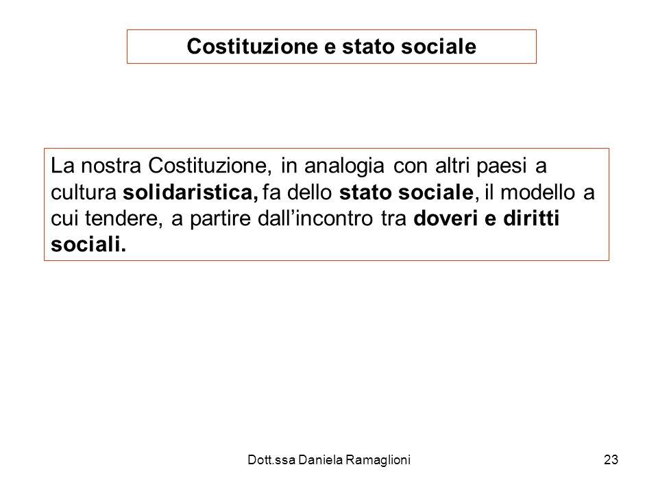 Dott.ssa Daniela Ramaglioni23 Costituzione e stato sociale La nostra Costituzione, in analogia con altri paesi a cultura solidaristica, fa dello stato