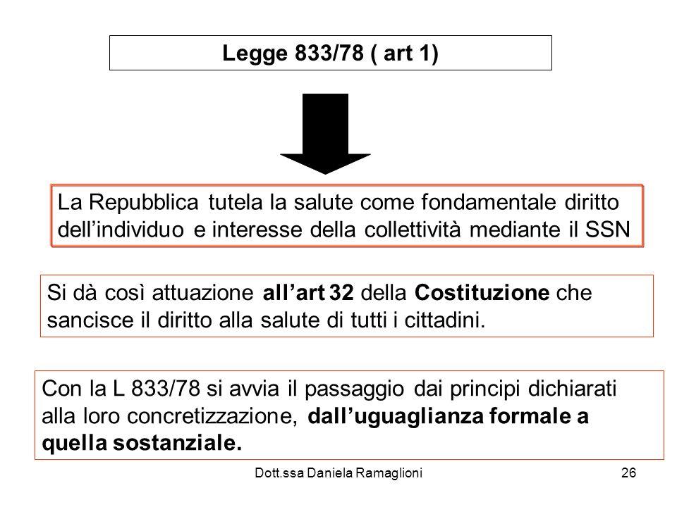 Dott.ssa Daniela Ramaglioni26 Legge 833/78 ( art 1) La Repubblica tutela la salute come fondamentale diritto dellindividuo e interesse della collettiv