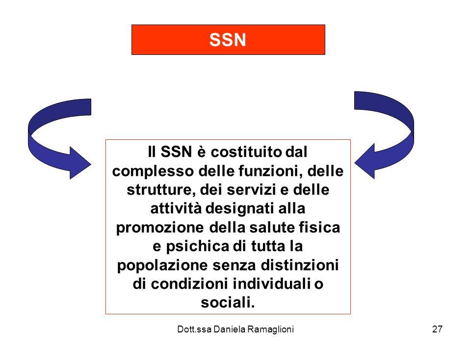 Dott.ssa Daniela Ramaglioni27 SSN Il SSN è costituito dal complesso delle funzioni, delle strutture, dei servizi e delle attività designati alla promo