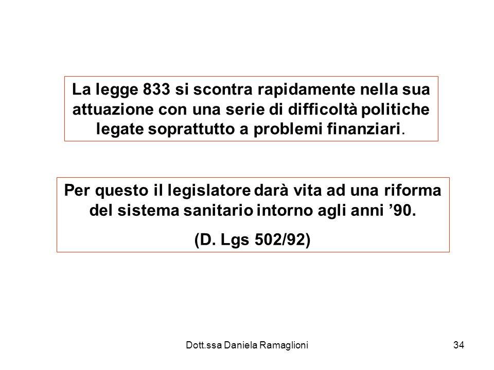 Dott.ssa Daniela Ramaglioni34 La legge 833 si scontra rapidamente nella sua attuazione con una serie di difficoltà politiche legate soprattutto a prob