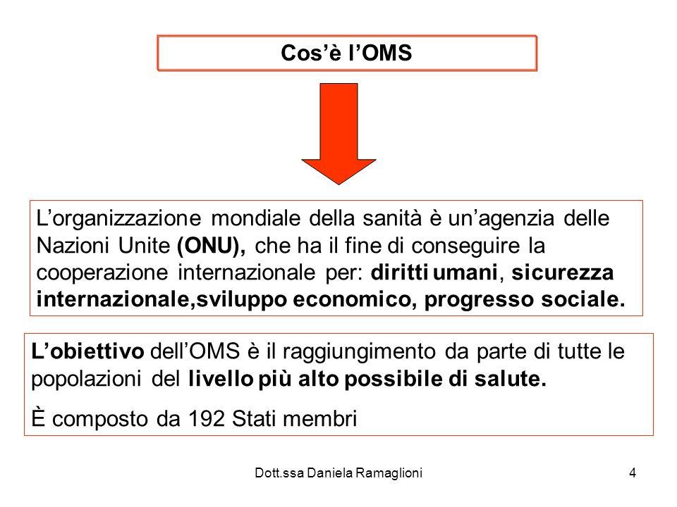 Dott.ssa Daniela Ramaglioni4 Cosè lOMS Lorganizzazione mondiale della sanità è unagenzia delle Nazioni Unite (ONU), che ha il fine di conseguire la co